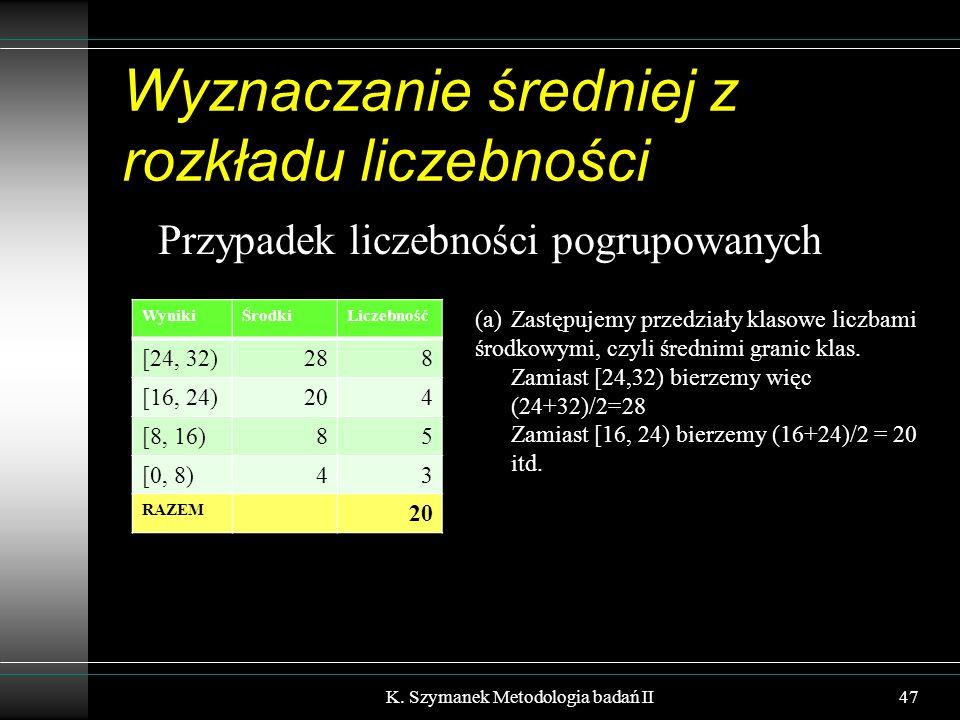 Wyznaczanie średniej z rozkładu liczebności Przypadek liczebności pogrupowanych K. Szymanek Metodologia badań II47 WynikiŚrodkiLiczebność [24, 32)288