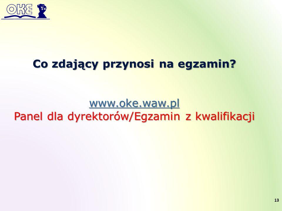 Co zdający przynosi na egzamin? www.oke.waw.pl Panel dla dyrektorów/Egzamin z kwalifikacji 13