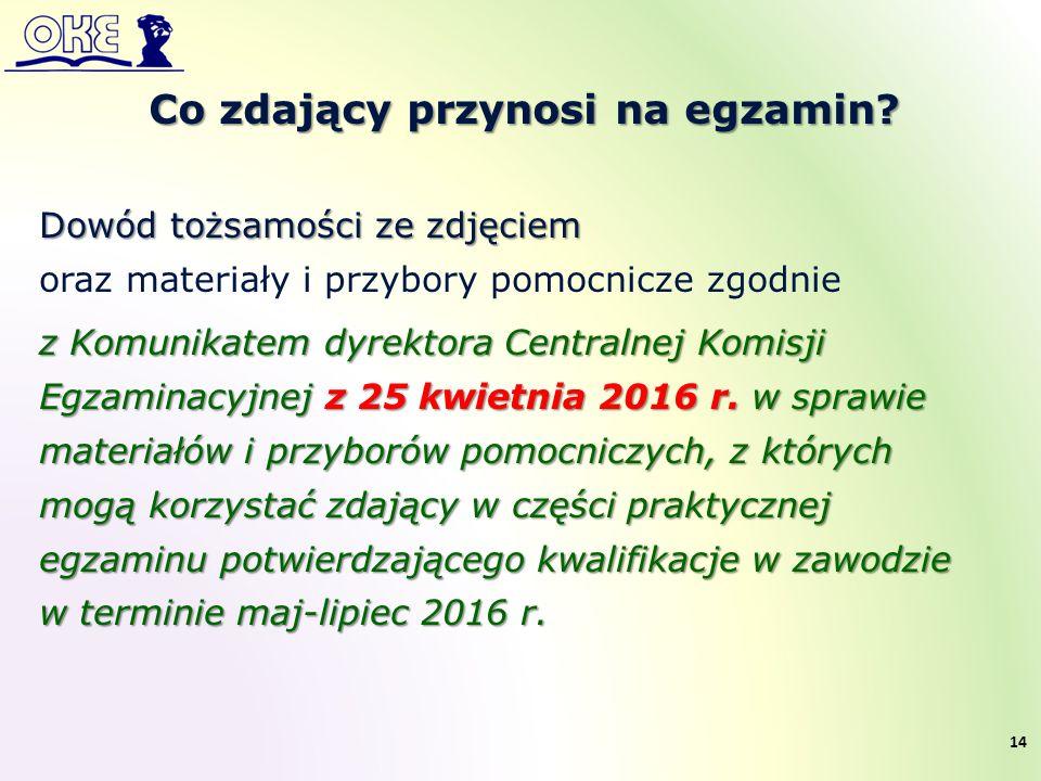 Dowód tożsamości ze zdjęciem oraz materiały i przybory pomocnicze zgodnie z Komunikatem dyrektora Centralnej Komisji Egzaminacyjnej z 25 kwietnia 2016