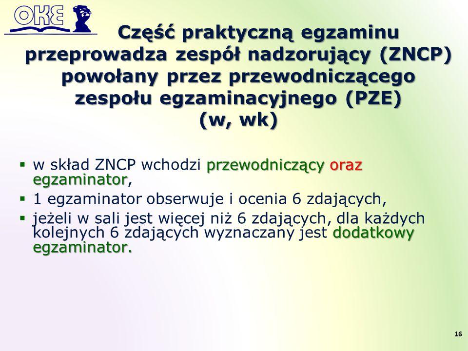 Część praktyczną egzaminu przeprowadza zespół nadzorujący (ZNCP) powołany przez przewodniczącego zespołu egzaminacyjnego (PZE) (w, wk) przewodniczący oraz egzaminator  w skład ZNCP wchodzi przewodniczący oraz egzaminator,  1 egzaminator obserwuje i ocenia 6 zdających, dodatkowy egzaminator.