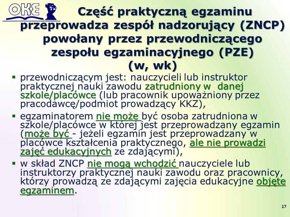 Część praktyczną egzaminu przeprowadza zespół nadzorujący (ZNCP) powołany przez przewodniczącego zespołu egzaminacyjnego (PZE) (w, wk) zatrudniony w d
