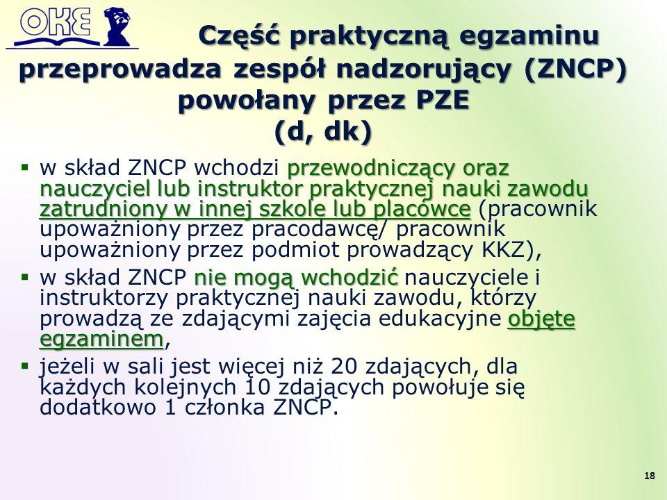 Część praktyczną egzaminu przeprowadza zespół nadzorujący (ZNCP) powołany przez PZE (d, dk) przewodniczący oraz nauczyciel lub instruktor praktycznej