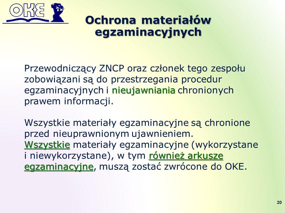 Ochrona materiałów egzaminacyjnych nieujawniania Przewodniczący ZNCP oraz członek tego zespołu zobowiązani są do przestrzegania procedur egzaminacyjnych i nieujawniania chronionych prawem informacji.