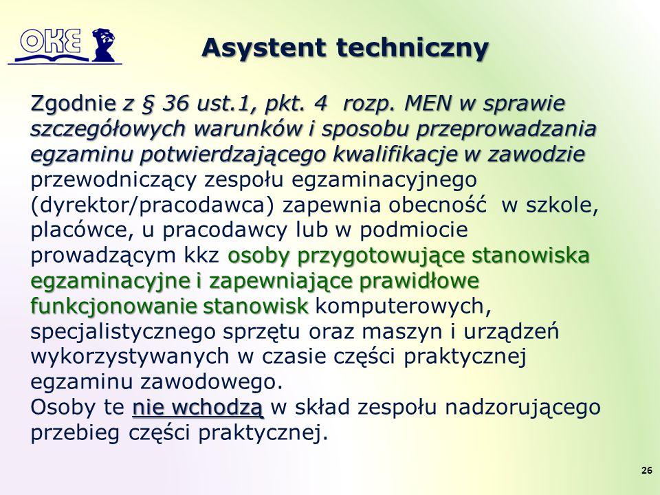 Asystent techniczny Zgodnie z § 36 ust.1, pkt. 4 rozp. MEN w sprawie szczegółowych warunków i sposobu przeprowadzania egzaminu potwierdzającego kwalif