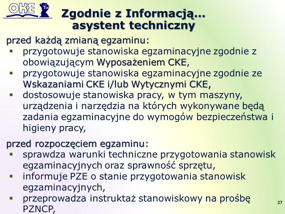 Zgodnie z Informacją… asystent techniczny 27 przed każdą zmianą egzaminu: Wyposażeniem CKE  przygotowuje stanowiska egzaminacyjne zgodnie z obowiązuj