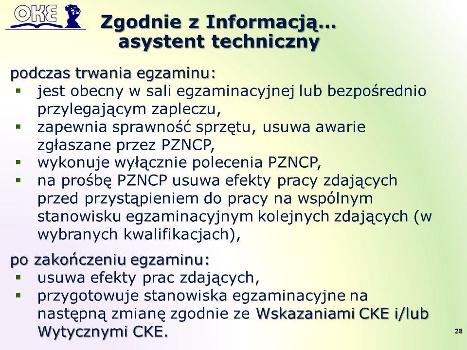 Zgodnie z Informacją… asystent techniczny 28 podczas trwania egzaminu:  jest obecny w sali egzaminacyjnej lub bezpośrednio przylegającym zapleczu, 