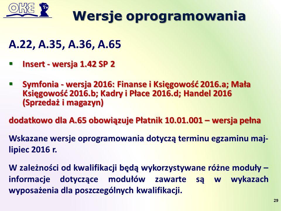 Wersje oprogramowania 29 A.22, A.35, A.36, A.65  Insert - wersja 1.42 SP 2  Symfonia - wersja 2016: Finanse i Księgowość 2016.a; Mała Księgowość 2016.b; Kadry i Płace 2016.d; Handel 2016 (Sprzedaż i magazyn) dodatkowo dla A.65 obowiązuje Płatnik 10.01.001 – wersja pełna Wskazane wersje oprogramowania dotyczą terminu egzaminu maj- lipiec 2016 r.
