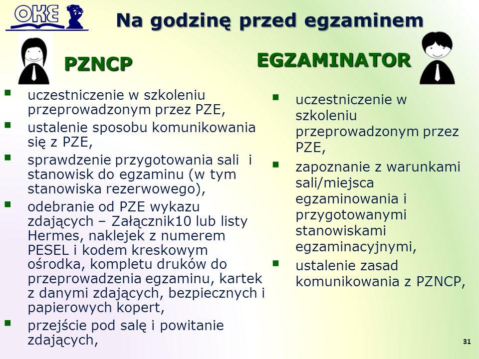 Na godzinę przed egzaminem  uczestniczenie w szkoleniu przeprowadzonym przez PZE,  ustalenie sposobu komunikowania się z PZE,  sprawdzenie przygoto