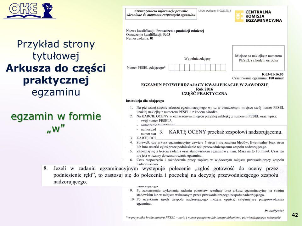 """42 Przykład strony tytułowej Arkusza do części praktycznej egzaminu egzamin w formie """"w"""
