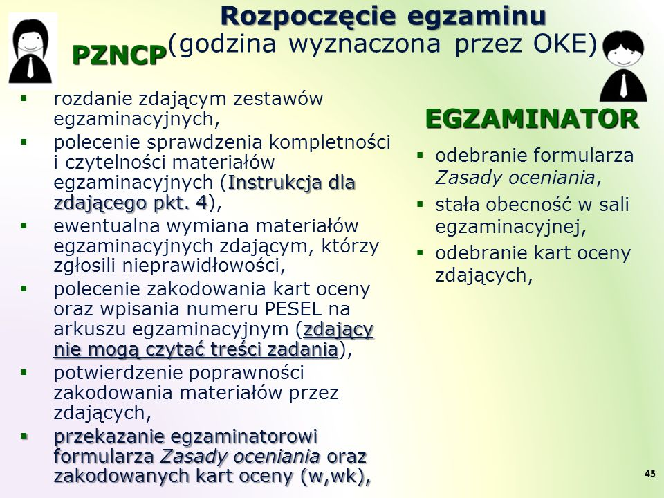Rozpoczęcie egzaminu Rozpoczęcie egzaminu (godzina wyznaczona przez OKE)  rozdanie zdającym zestawów egzaminacyjnych, Instrukcja dla zdającego pkt. 4