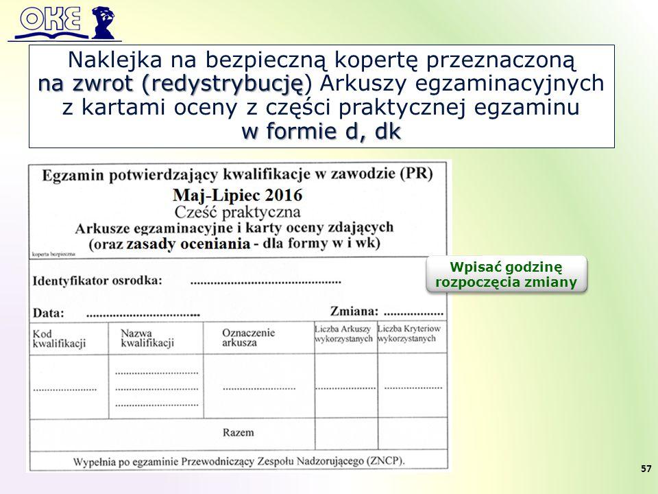 Naklejka na bezpieczną kopertę przeznaczoną na zwrot (redystrybucję na zwrot (redystrybucję) Arkuszy egzaminacyjnych z kartami oceny z części praktycz