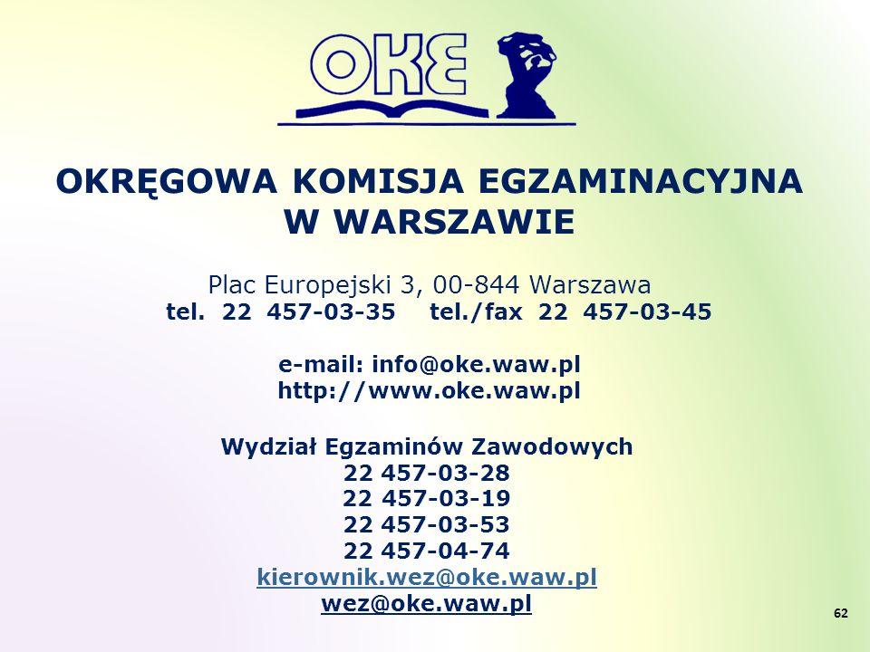 OKRĘGOWA KOMISJA EGZAMINACYJNA W WARSZAWIE Plac Europejski 3, 00-844 Warszawa tel. 22 457-03-35 tel./fax 22 457-03-45 e-mail: info@oke.waw.pl http://w