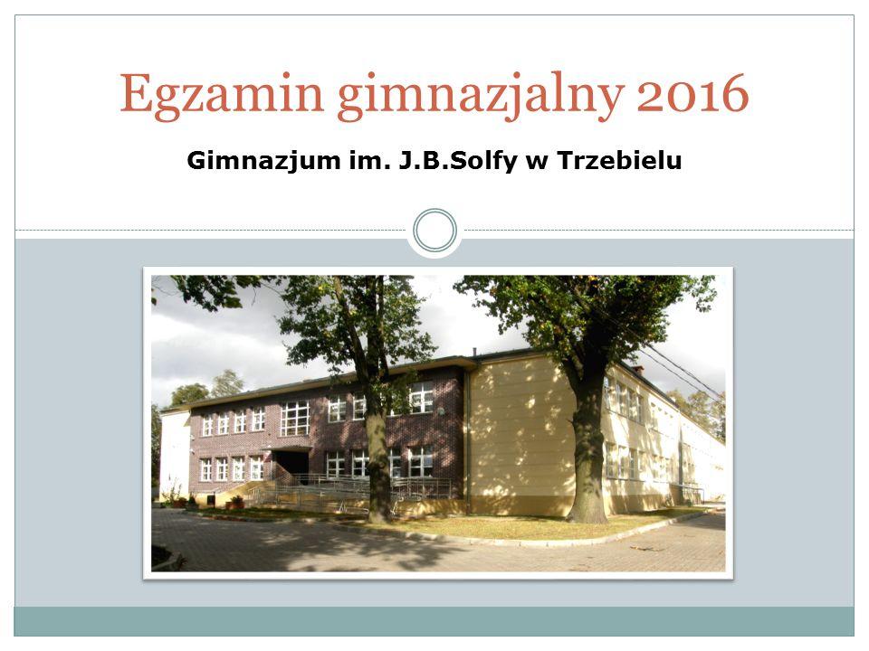 Egzamin gimnazjalny 2016 Gimnazjum im. J.B.Solfy w Trzebielu