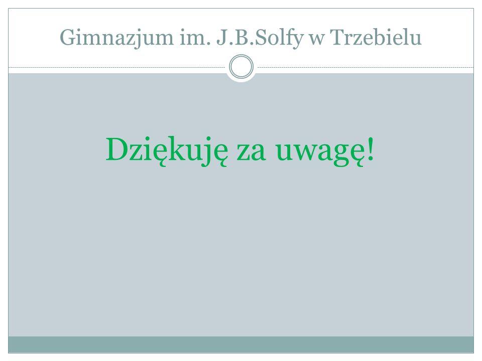 Gimnazjum im. J.B.Solfy w Trzebielu Dziękuję za uwagę!