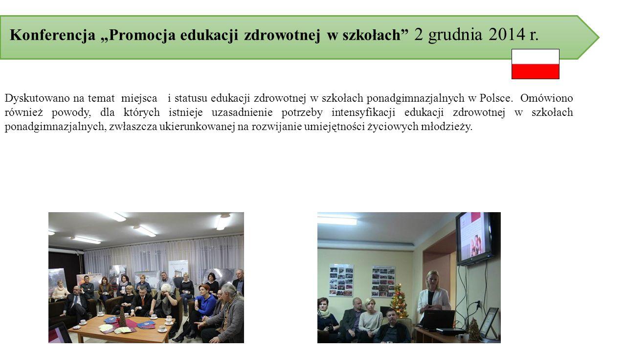 """Konferencja """"Promocja edukacji zdrowotnej w szkołach 2 grudnia 2014 r."""