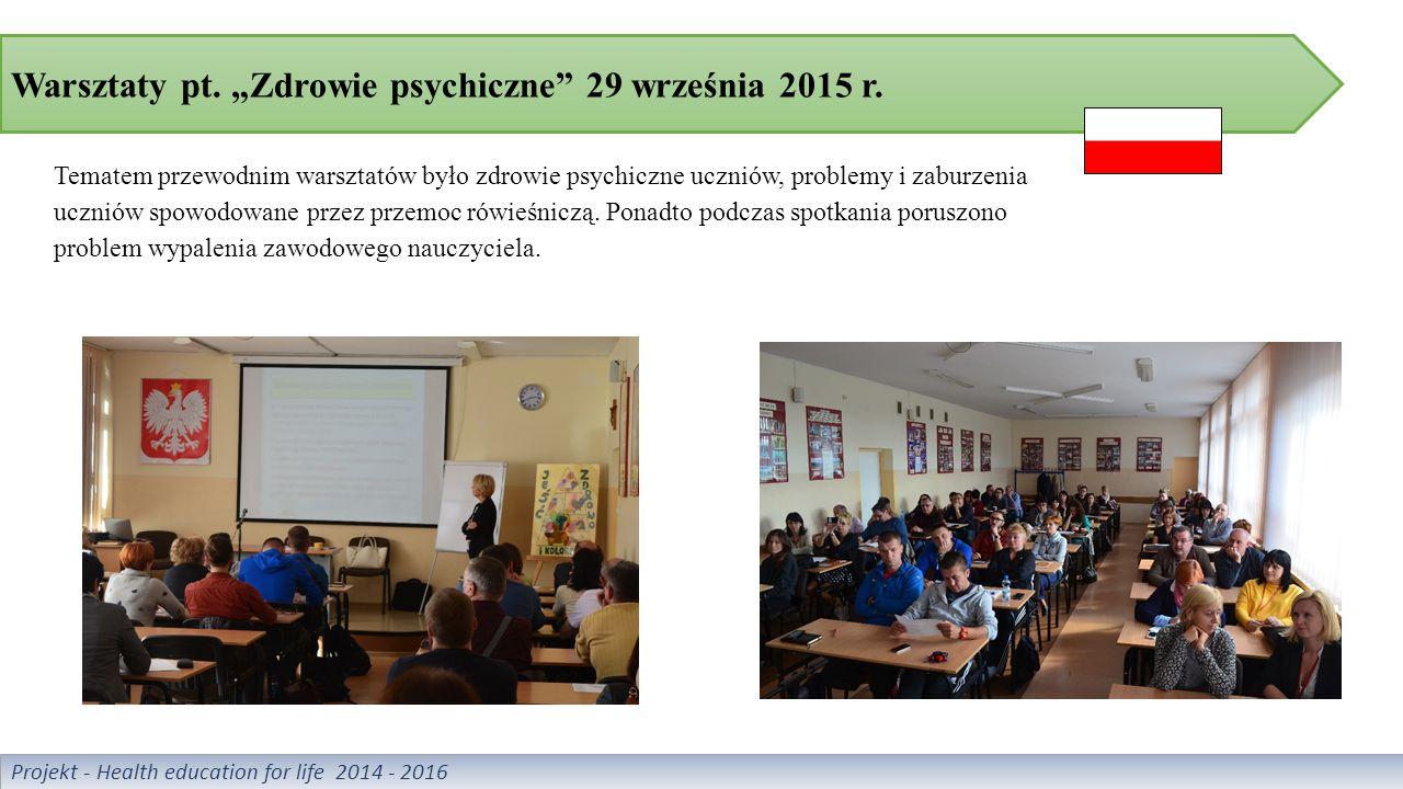 """Warsztaty pt. """"Zdrowie psychiczne 29 września 2015 r."""