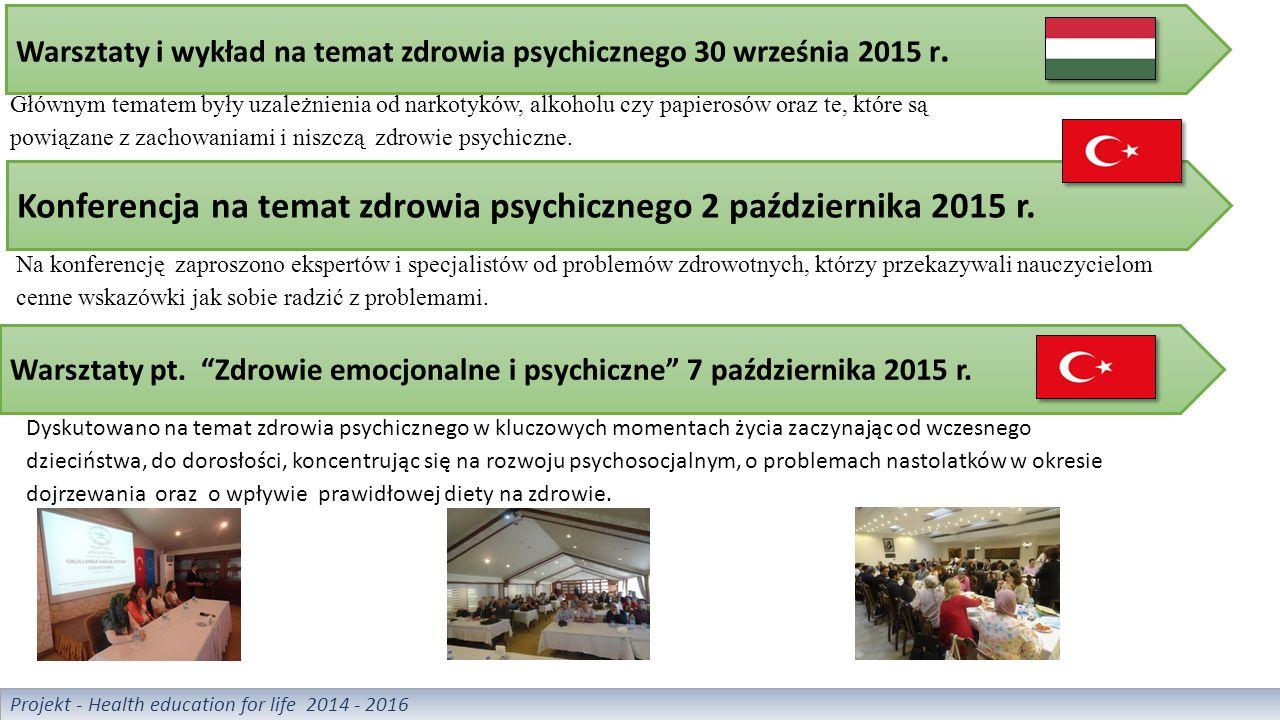 Warsztaty i wykład na temat zdrowia psychicznego 30 września 2015 r.