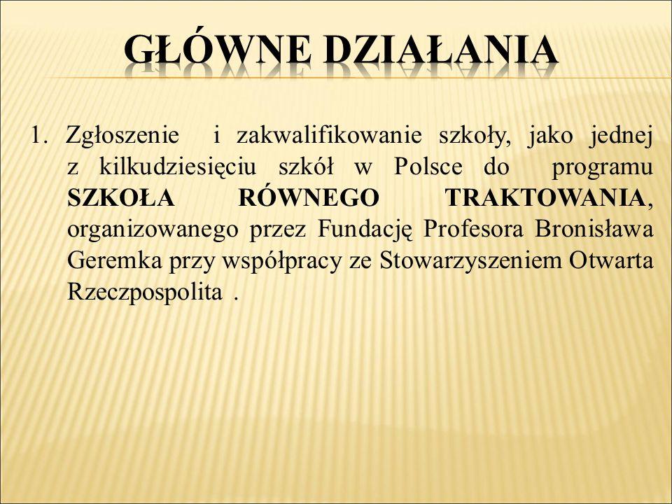 1. Zgłoszenie i zakwalifikowanie szkoły, jako jednej z kilkudziesięciu szkół w Polsce do programu SZKOŁA RÓWNEGO TRAKTOWANIA, organizowanego przez Fun