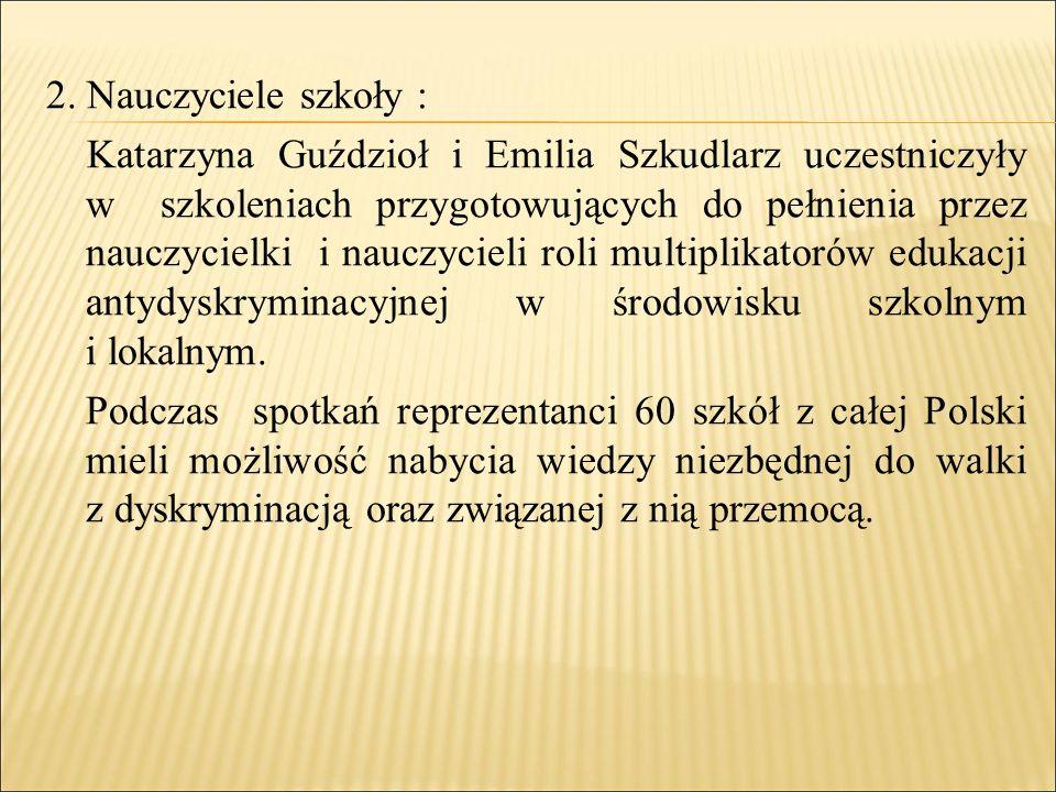 2. Nauczyciele szkoły : Katarzyna Guździoł i Emilia Szkudlarz uczestniczyły w szkoleniach przygotowujących do pełnienia przez nauczycielki i nauczycie