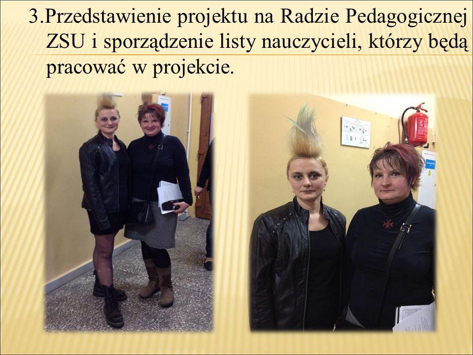 3.Przedstawienie projektu na Radzie Pedagogicznej ZSU i sporządzenie listy nauczycieli, którzy będą pracować w projekcie.