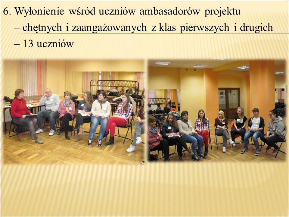 6. Wyłonienie wśród uczniów ambasadorów projektu – chętnych i zaangażowanych z klas pierwszych i drugich – 13 uczniów