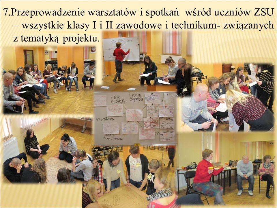 7.Przeprowadzenie warsztatów i spotkań wśród uczniów ZSU – wszystkie klasy I i II zawodowe i technikum- związanych z tematyką projektu.