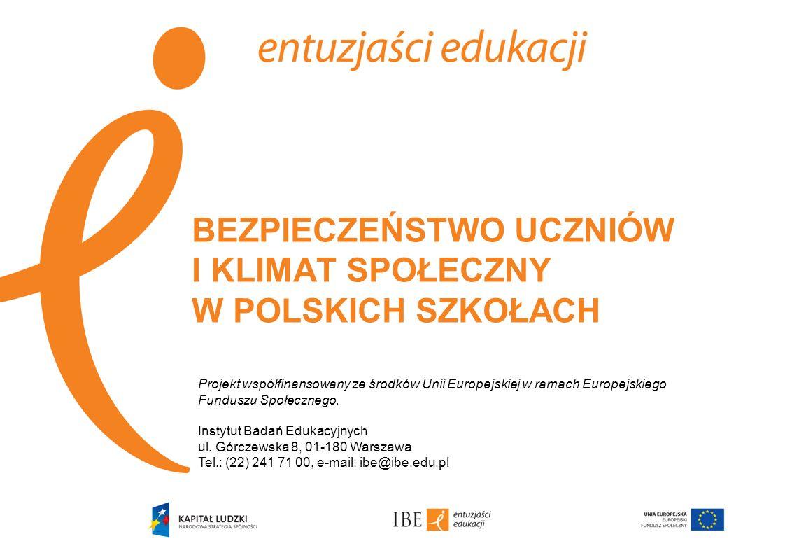 BEZPIECZEŃSTWO UCZNIÓW I KLIMAT SPOŁECZNY W POLSKICH SZKOŁACH Projekt współfinansowany ze środków Unii Europejskiej w ramach Europejskiego Funduszu Sp
