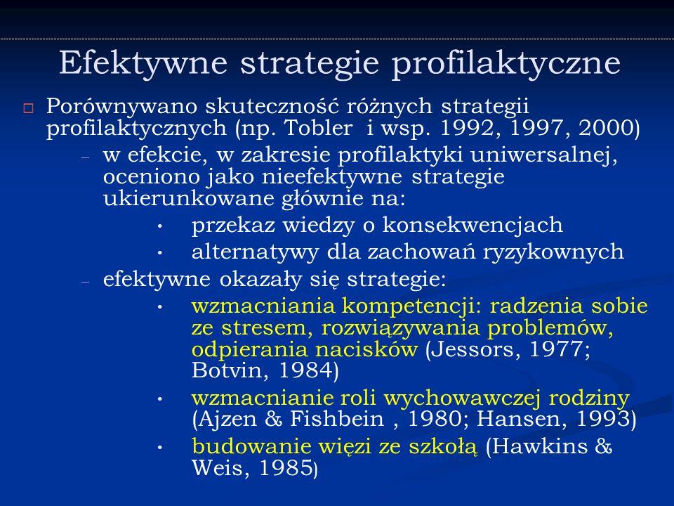 Efektywne strategie profilaktyczne   Porównywano skuteczność różnych strategii profilaktycznych (np.