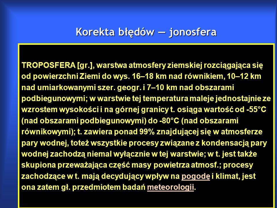 Korekta błędów — jonosfera TROPOSFERA [gr.], warstwa atmosfery ziemskiej rozciągająca się od powierzchni Ziemi do wys.