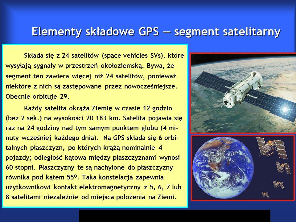 Elementy składowe GPS — segment satelitarny Składa się z 24 satelitów (space vehicles SVs), które wysyłają sygnały w przestrzeń okołoziemską.