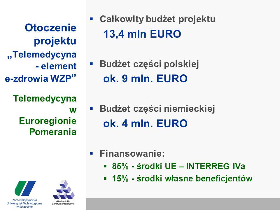 """Otoczenie projektu """" Telemedycyna - element e-zdrowia WZP  Całkowity budżet projektu 13,4 mln EURO  Budżet części polskiej ok."""