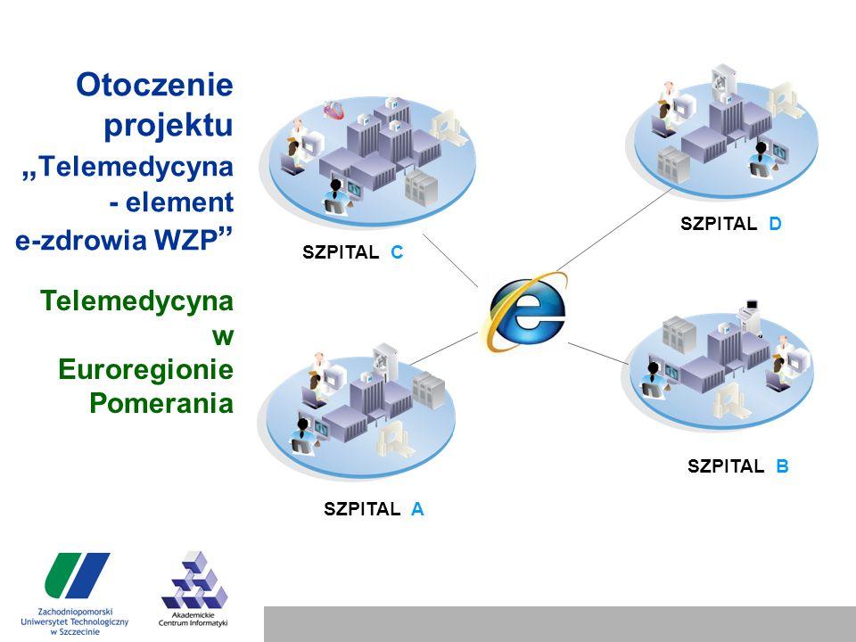 """Otoczenie projektu """" Telemedycyna - element e-zdrowia WZP SZPITAL A SZPITAL B SZPITAL D SZPITAL C Telemedycyna w Euroregionie Pomerania"""