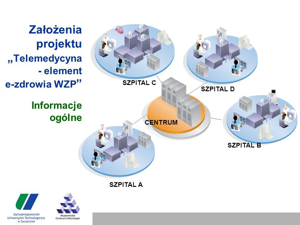 """Założenia projektu """" Telemedycyna - element e-zdrowia WZP Informacje ogólne SZPITAL A SZPITAL B SZPITAL D SZPITAL C CENTRUM"""