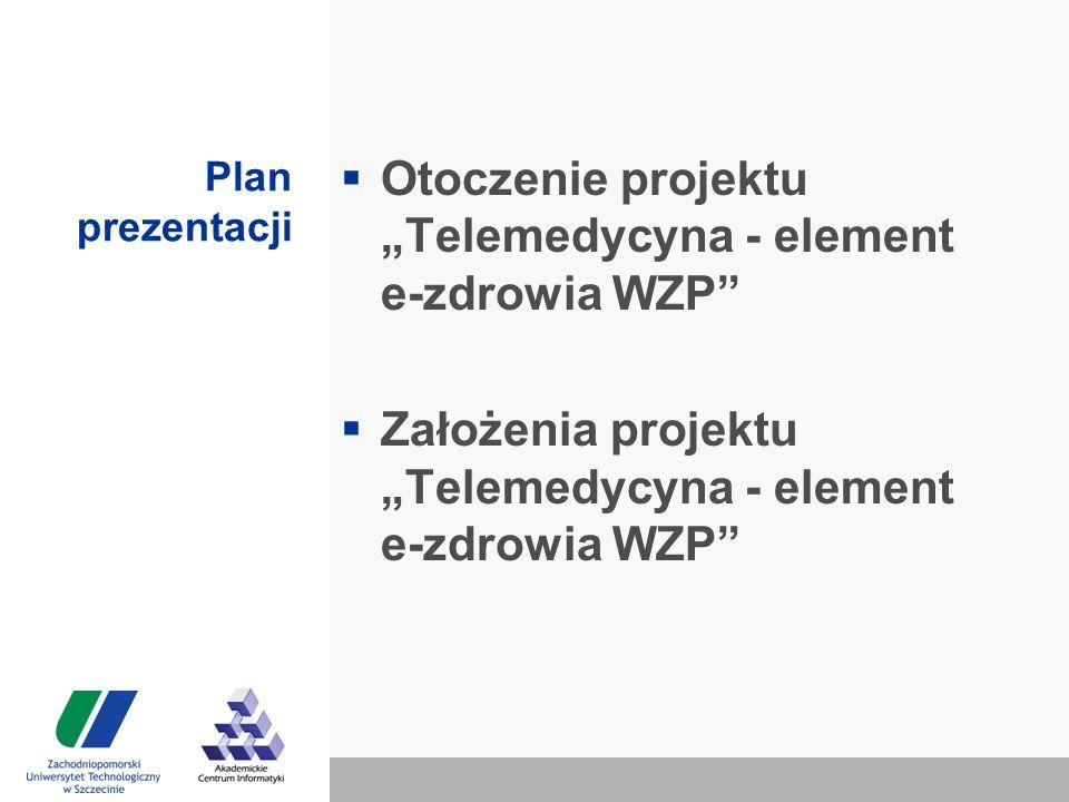 """Plan prezentacji  Otoczenie projektu """"Telemedycyna - element e-zdrowia WZP  Założenia projektu """"Telemedycyna - element e-zdrowia WZP"""