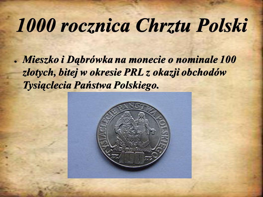 1000 rocznica Chrztu Polski ● Mieszko i Dąbrówka na monecie o nominale 100 złotych, bitej w okresie PRL z okazji obchodów Tysiąclecia Państwa Polskieg