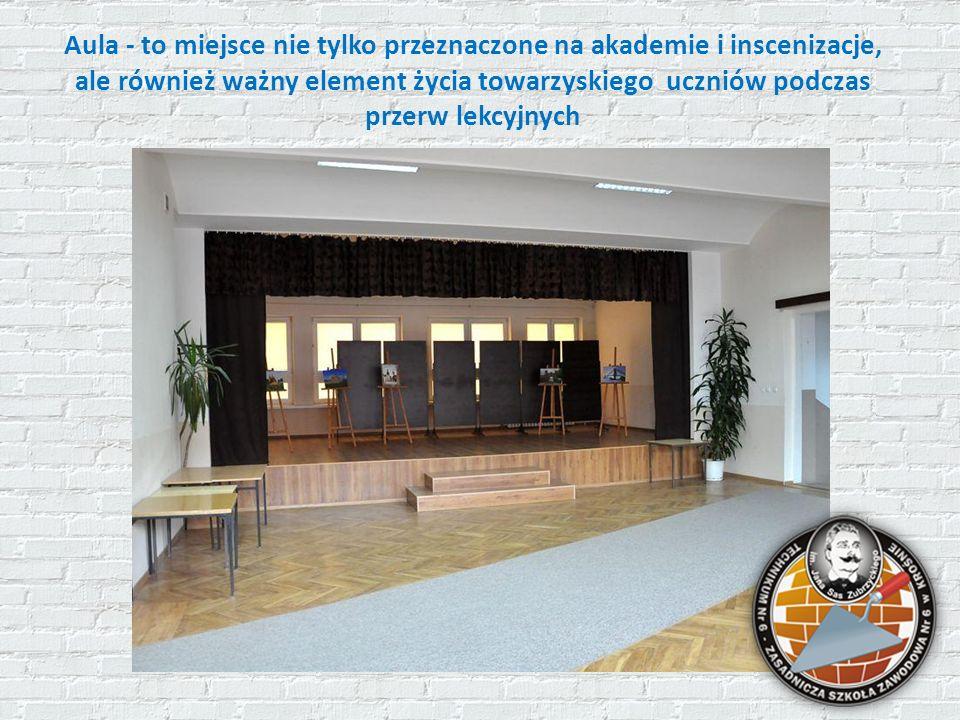 Aula - to miejsce nie tylko przeznaczone na akademie i inscenizacje, ale również ważny element życia towarzyskiego uczniów podczas przerw lekcyjnych
