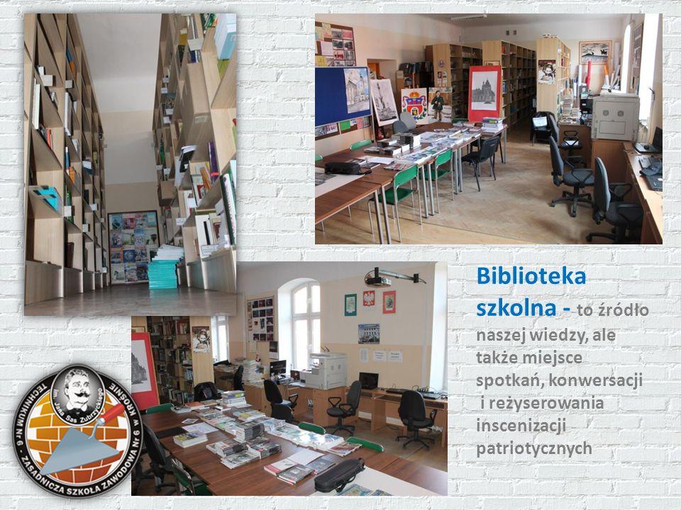 Biblioteka szkolna - to źródło naszej wiedzy, ale także miejsce spotkań, konwersacji i reżyserowania inscenizacji patriotycznych