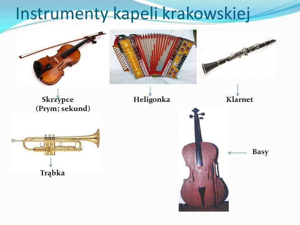Instrumenty kapeli krakowskiej Skrzypce (Prym; sekund) Heligonka Klarnet Trąbka Basy