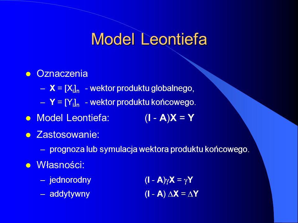 Model Leontiefa l Oznaczenia –X = [X i ] n - wektor produktu globalnego, –Y = [Y i ] n - wektor produktu końcowego.