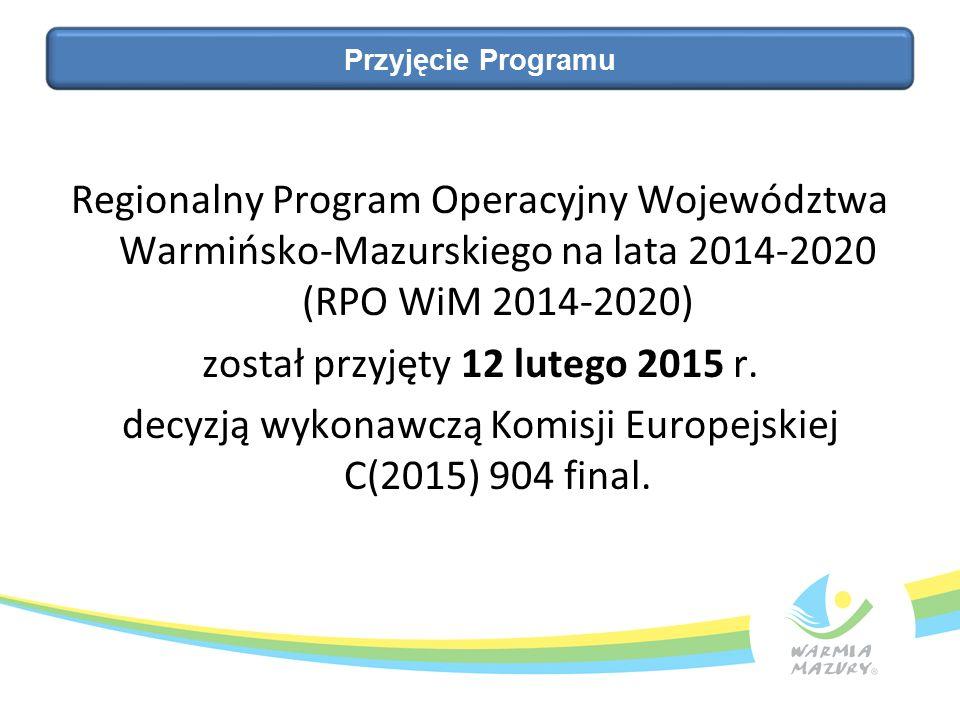 Regionalny Program Operacyjny Województwa Warmińsko-Mazurskiego na lata 2014-2020 (RPO WiM 2014-2020) został przyjęty 12 lutego 2015 r.