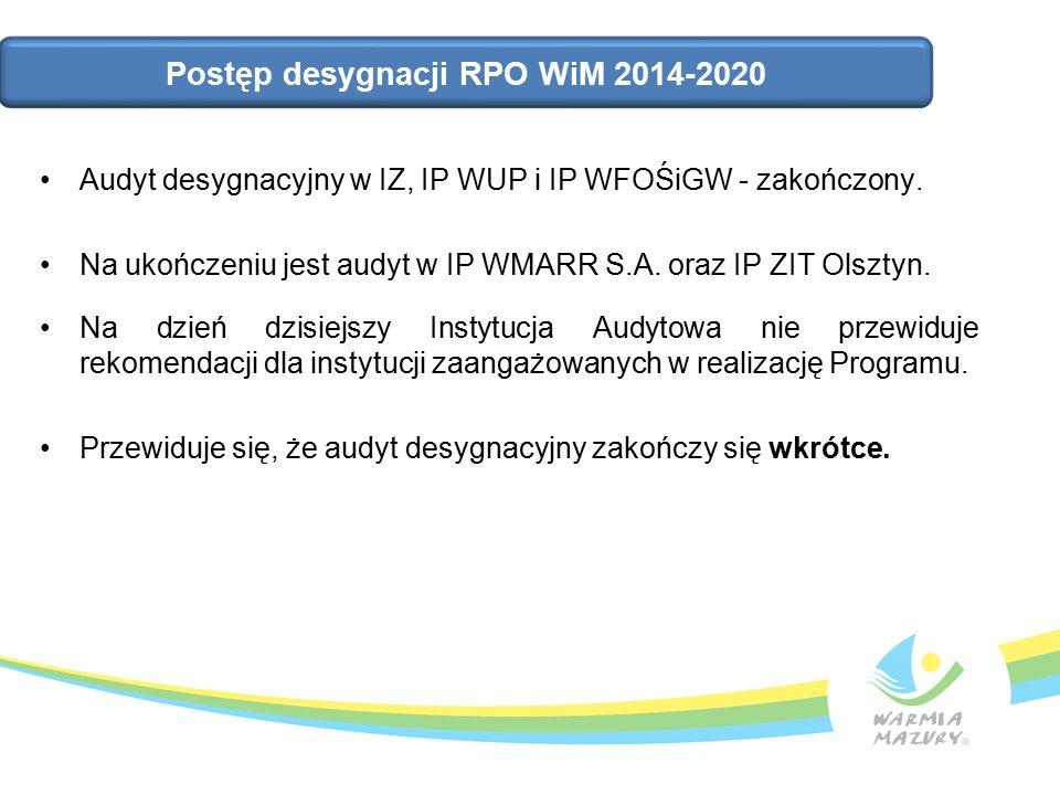 Postęp desygnacji RPO WiM 2014-2020 Audyt desygnacyjny w IZ, IP WUP i IP WFOŚiGW - zakończony.