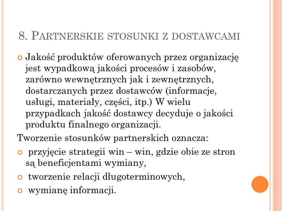 8. P ARTNERSKIE STOSUNKI Z DOSTAWCAMI Jakość produktów oferowanych przez organizację jest wypadkową jakości procesów i zasobów, zarówno wewnętrznych j