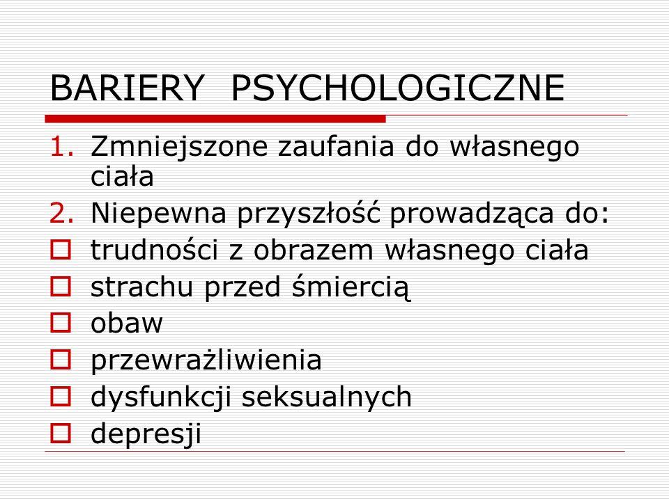 BARIERY PSYCHOLOGICZNE 1.Zmniejszone zaufania do własnego ciała 2.Niepewna przyszłość prowadząca do:  trudności z obrazem własnego ciała  strachu przed śmiercią  obaw  przewrażliwienia  dysfunkcji seksualnych  depresji