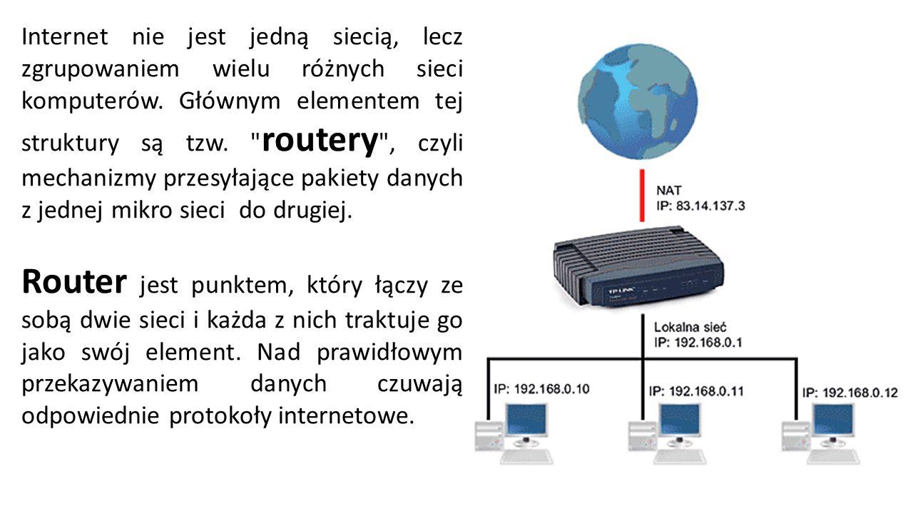 Internet nie jest jedną siecią, lecz zgrupowaniem wielu różnych sieci komputerów.