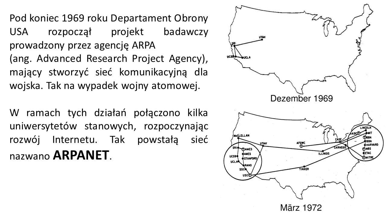 Pod koniec 1969 roku Departament Obrony USA rozpoczął projekt badawczy prowadzony przez agencję ARPA (ang.