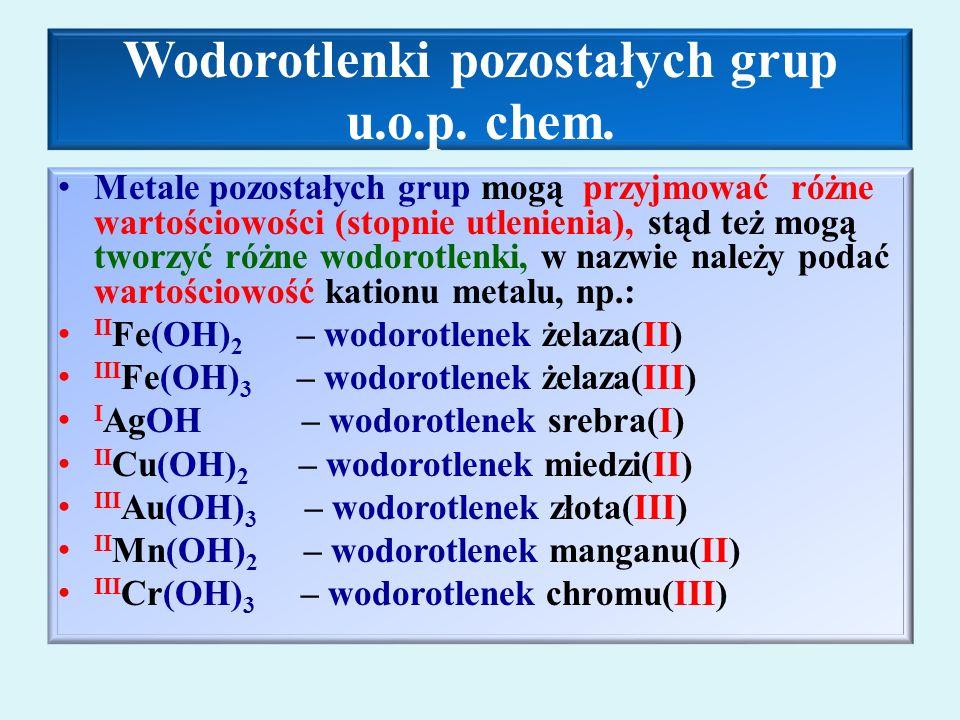 Wodorotlenki pozostałych grup u.o.p. chem.