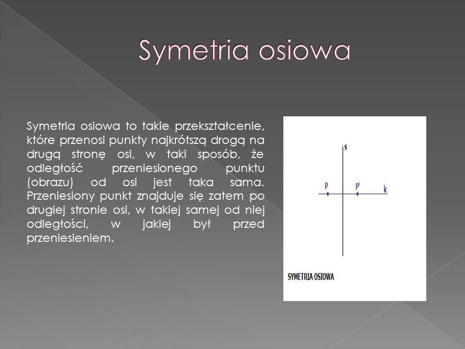 .. Symetria osiowa to takie przekształcenie, które przenosi punkty najkrótszą drogą na drugą stronę osi, w taki sposób, że odległość przeniesionego