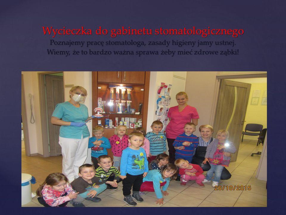 Wycieczka do gabinetu stomatologicznego Poznajemy pracę stomatologa, zasady higieny jamy ustnej.