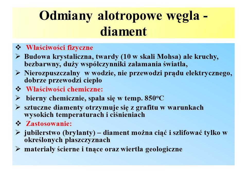  Właściwości fizyczne  Budowa krystaliczna, twardy (10 w skali Mohsa) ale kruchy, bezbarwny, duży współczynniki załamania światła,  Nierozpuszczaln