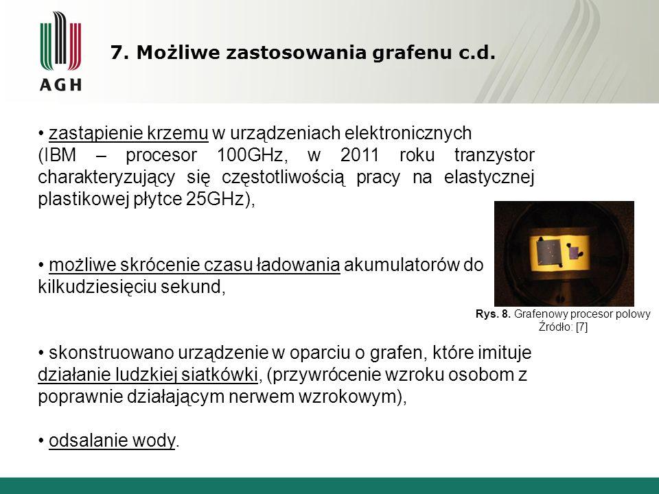 7. Możliwe zastosowania grafenu c.d.